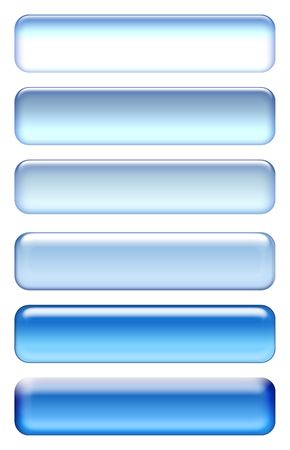 Blue blank buttons set isolated on white