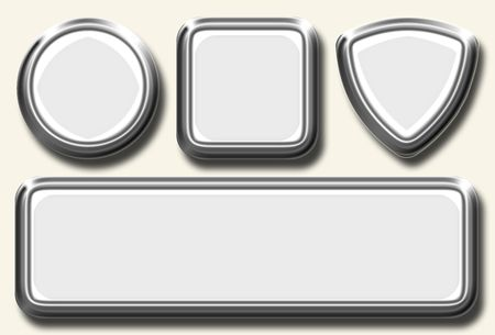 rectangle button: White icon set with metal border different shapes