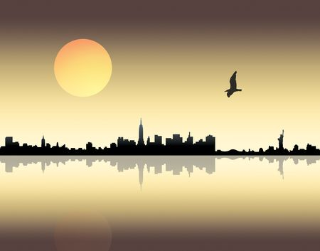 City landscape over sunset background