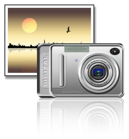 Camera and a landscape photo over white background
