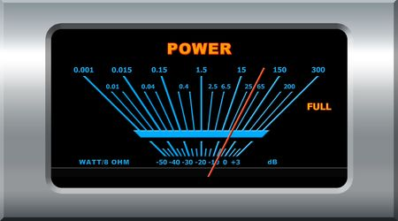 Music icon - power amplifier with blue scale and red needle