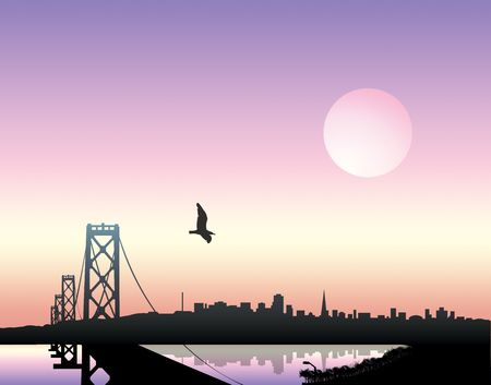 City landscape over sunset background