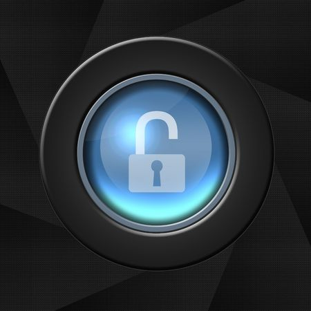 Security icon over aperture style background - unlocked