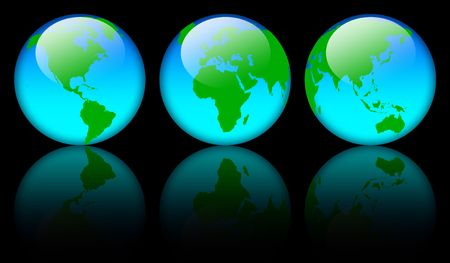 Shiny world map globe over black background Stock Photo