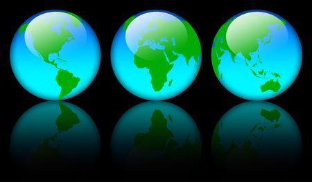 Shiny world map globe over black background Stock Photo