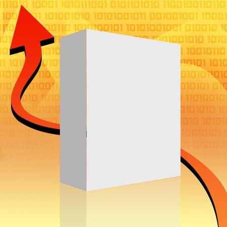Blank white box over orange background