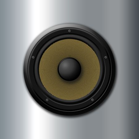 Sound icon - Yellow speaker Stock Photo
