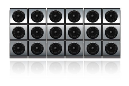 Wall of black speakers Stock Photo