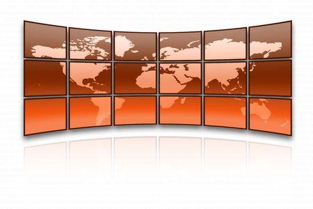 Orange world map on a huge screen photo