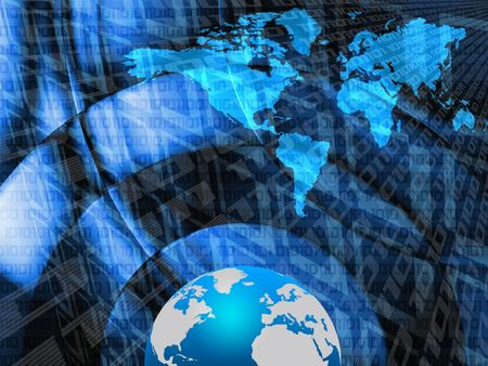 World map and globe over abstract blue background
