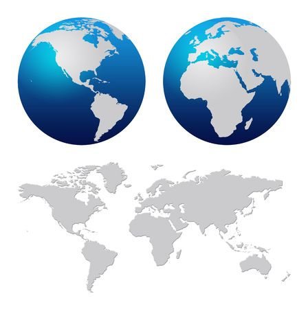 Blue world globe and world map over white background