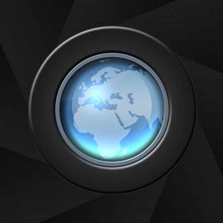 Blue icon with globe world map - Africa and Europe Stock Photo