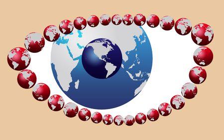 Blue eye made of world map globe Stock Photo