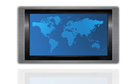World map on a huge screen photo