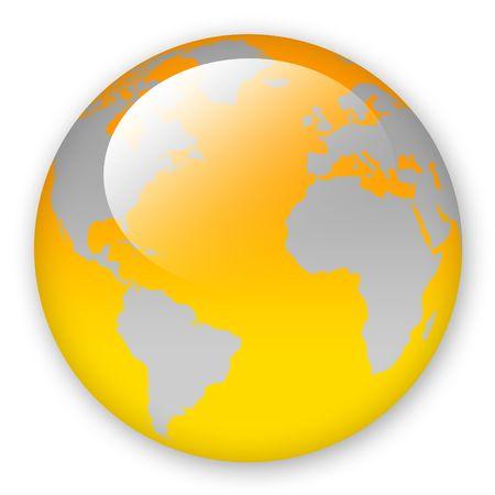 Orange world map over whitw background