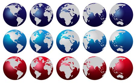 Red and blue world globe over white background Stock Photo