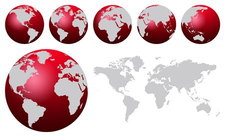 Red world globe and world map Stock Photo