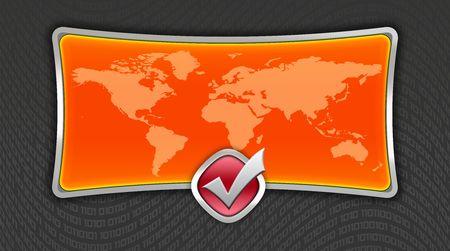 Orange world map on huge screen