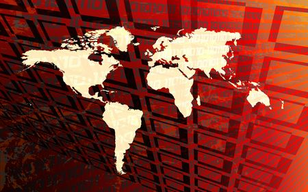 Red world map on digital environment Stock Photo