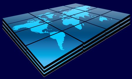 World map in blue gradient on big screen Stock Photo