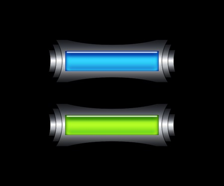 Futuristic green and blue buttons