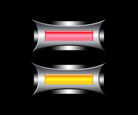 Futuristic red and yellow buttons