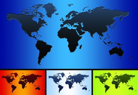 World map on a huge blue screen Stock Photo