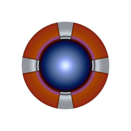 Blue pearl button with red border