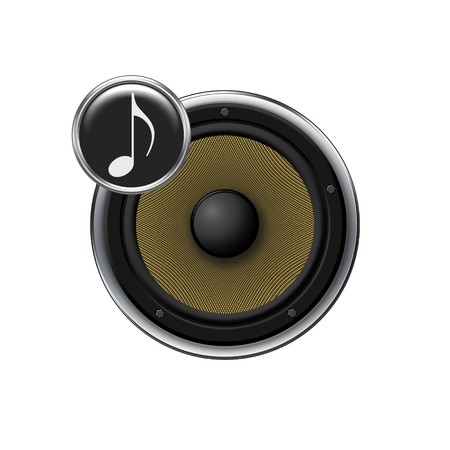 Music icon - yellow speaker Stock Photo - 4335422