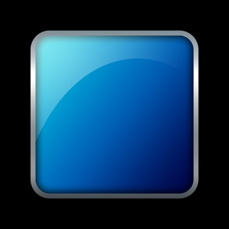 Blue square button with metal border