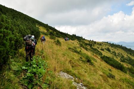 carpathian: Tourists on the hiking trip in the Carpathian Mountains