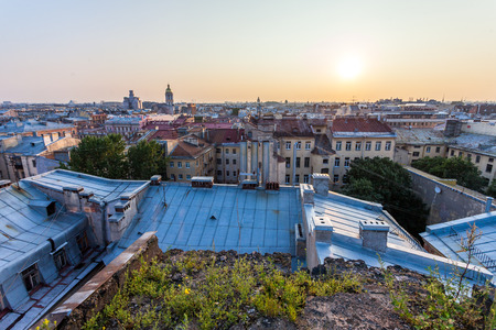 beautiful view from the roof of St. Petersburg at the center of the city sunset