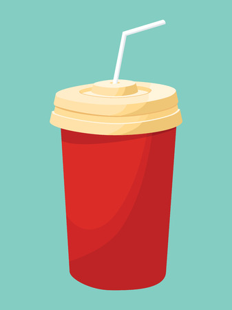 drinking straw: Red disposable paper cup with drinking straw - vector drawing isolated