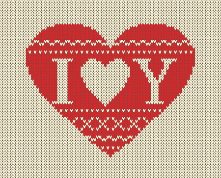 Seamless pattern on the theme of Valentines Day with an image of the Norwegian patterns and hearts. Wool knitted texture. The inscription I love you. Illustration