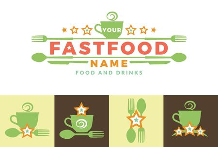 Menü Mit Grünem Logo Mit Wort Fast Food, Design-Elemente Löffel Und ...