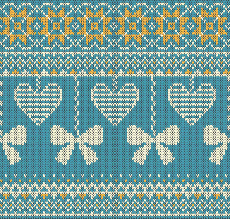 isles: Seamless pattern on the theme of Valentines Day with an image of the Norwegian patterns and hearts. Wool knitted texture. Illustration Illustration