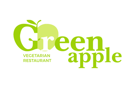 apple leaf: Green with word Green Apple, design elements apple, leaf at a white background. Design template for restaurant, cafe and canteens. Illustration