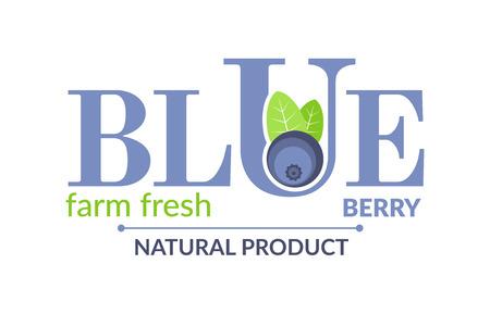 blueberry pie: Blueberry design concept. Forest fruit creative symbol template. Fresh organic fruit unique icon layout. It contains the inscription Blue berry, farm fresh, natural product.