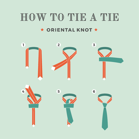 guidebook: Instructions on how to tie a tie on the turquoise background of the eight steps. Oriental knot.