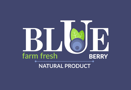 blue berry: WhitE at a blue background. Forest fruit creative symbol template. Fresh organic fruit unique icon layout. It contains the inscription Blue berry, farm fresh, natural product.
