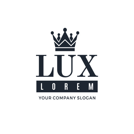 lux: Dark blue on a white background with a picture of the silhouette of the crown and the words Lux. It symbolizes the highest quality, strength, indestructibility.