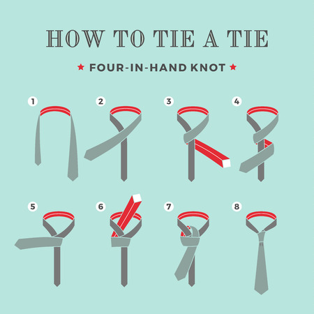 guidebook: Instructions on how to tie a tie on the turquoise background of the eight steps. Four in Hand knot . Vector Illustration