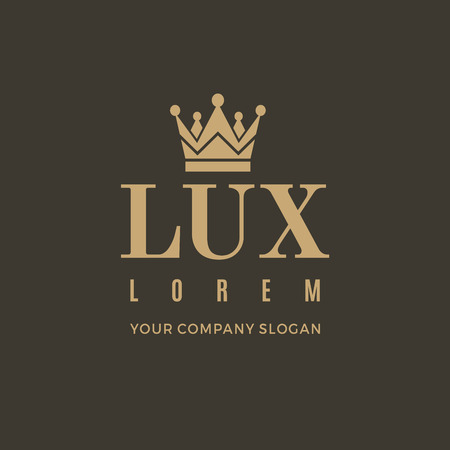 Gold logo on a brown background with a picture of the silhouette of the crown and the words Lux. It symbolizes the highest quality, strength, indestructibility. Vector Illustration