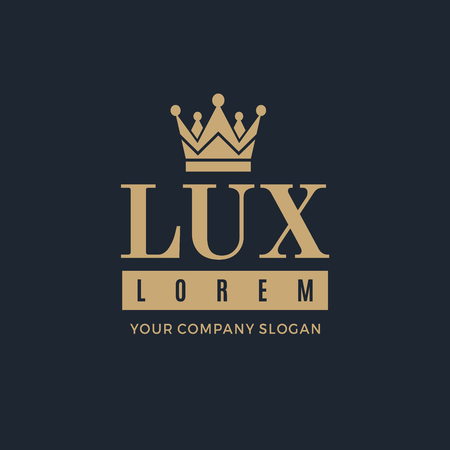 Gold logo on a dark blue background with a picture of the silhouette of the crown and the words Lux. It symbolizes the highest quality, strength, indestructibility. Vector Illustration