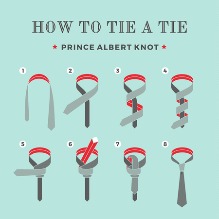 guidebook: Instructions on how to tie a tie on the turquoise background of the eight steps. Prince Albert knot . Vector Illustration