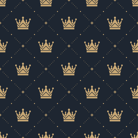 gold textures: Seamless pattern in retro style with a gold crown on a blue background. Can be used for wallpaper, pattern fills, web page background,surface textures. Illustration Illustration