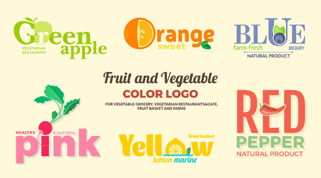 Set of colored on the theme of fruits and vegetables. For vegetable shops, vegetarian restaurants and cafes, delivery of fruit and vegetable farms. Illustration