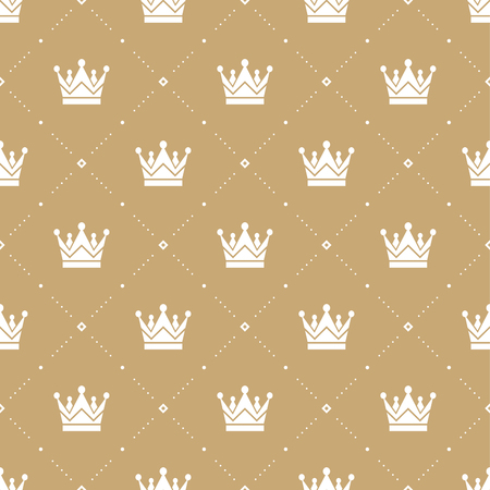 gold textures: Seamless pattern in retro style with a white crown on a gold background. Can be used for wallpaper, pattern fills, web page background,surface textures.