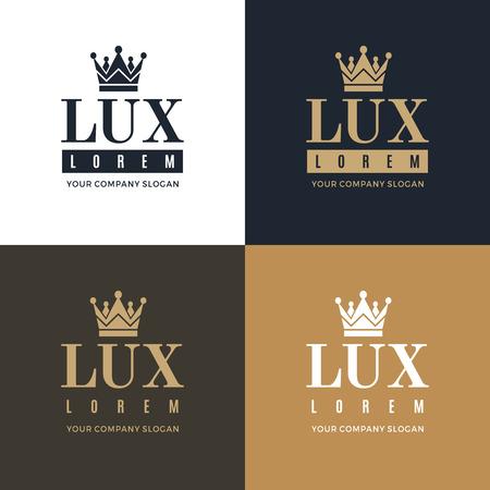 luxo: Definir ouro, ícone azul e branco sobre um fundo azul, branco e ouro com uma imagem da silhueta da coroa e as palavras Lux. Ele simboliza a mais alta qualidade, força, indestrutibilidade.