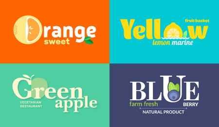 Set of colored logos on the theme of fruits and vegetables. For vegetable shops, vegetarian restaurants and cafes, delivery of fruit and vegetable farms.